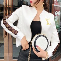 LV Leather Long Sleeve Cardigan Jacket Coat