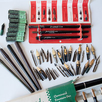 Vintage drawing pens artist supplies fountain pen nibs collection lot