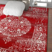 2932 Red Medallion Distressed Traditional Area Rugs