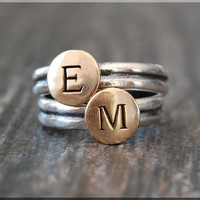 Initial Ring, Personalized stacking ring, Bronze Sterling Silver Initial ring, Personalized Ring, Mixed Metals ring, Personalized jewelry