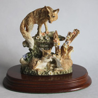 "Leonardo Collection ""Nature Studies"" Vixen and Cubs Figurine, Vintage Wild Life Fox Pups Statue on Wood Base"