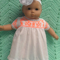 """AMERICAN GIRL Bitty Baby Clothes """"Mexican Dress"""" (15 inch) doll outfit  dress, footless sandals, and headband hair clip white embroidery"""