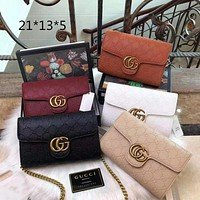 """Gucci"" Women Fashion Classic Embossed Couple Genuine Leather Lock Mental Chain Single Shoulder Bag Flip Square Handbag"