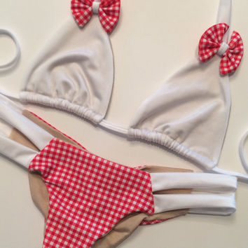 Red & White Gingham Bow Bikini