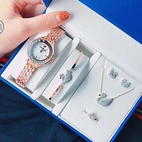 """Swarovski"" High Quality Stylish Women Chic Movement Quartz Watch Wristwatch Necklace Ring Earrings Bracelet Five Piece Set"