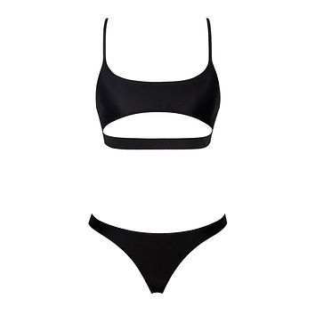 Greensboro Black Cutout Strappy Bikini