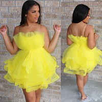Tiara Tulle Dress Canary Yellow