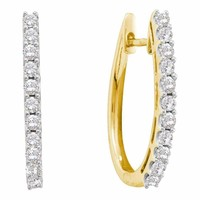 14kt Yellow Gold Women's Round Diamond Hoop Earrings 1.00 Cttw - FREE Shipping (USA/CAN)
