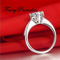 1 Ct Round Cut lab made Diamond Pave set Heart Sign basket set Engagement Promise Rings  with gift box- made to order
