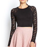 FOREVER 21 Lace Sleeve Crop Top Black
