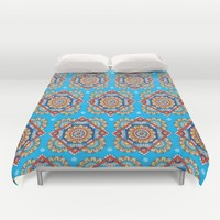 Bright Blue Diamond Floral Duvet Cover by Sarah Oelerich