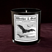 MIDNIGHT Candle, 9oz Black Tumbler, Clove Scented Candle, Dark Series, Bats, Gothic Vintage Victorian Style, Goth Gift, Soy Blend