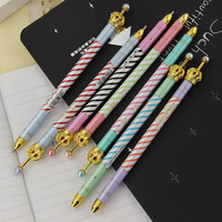 6 Colors 0.5mm Colorful Stripes Metal Crown Pen Gel Pen Ballpoint Pen Writing Stationery School Office Supplies 1 pcs