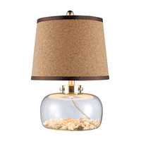 D1981 Margate Table Lamp In Clear Glass With Shells And Natural Cork Shade - Free Shipping!