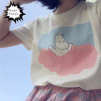 2016 new summer style harajuku vintage sweet kawaii shirt Moomin print pink blue cotton basic white short-sleeve t shirt women