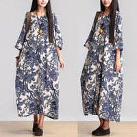 Women print dress maxi dress linen dress large size dress Casual dress/Loose Fitting dress/Long Sleeve dress autumn clothing plus size dress