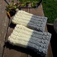 Hand knit Boot Cuffs, 2 in 1, Boot Toppers, Duo's, Ivory with Light Grey,  Womens Boot Cuffs, Leg warmer,