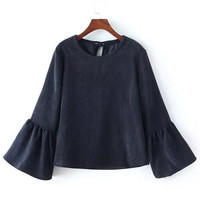 Navy Bell Sleeve Corduroy Blouse