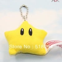 "Super Mario party nes switch 10pcs/lot    Bros Star Plush Keychain plush Toys Stuffed Dolls Kids Toys 2""5CM SMPD093 AT_80_8"