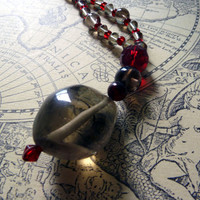 Smoke quartz and red glass beaded necklace