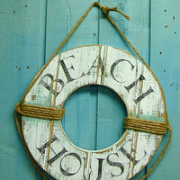 Beach House Sign Life Preserver Ring Wall Hanging Nautical Decor