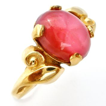 Vintage Faux Pink Sapphire Ring Gold Filled