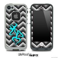 Black and White Chevron with Turquoise Deer Logo Skin for the iPhone 4/4s or 5 LifeProof Case