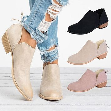 Women's booties low heel ankle boots with