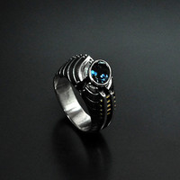 "SALE -20% OFF Silver Industrial Steampunk Ring  ""Unquaestus"" with Topaz"