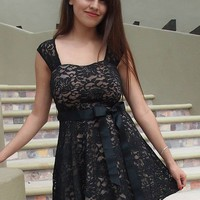 It's Now Or Never Black Lace Skater Dress