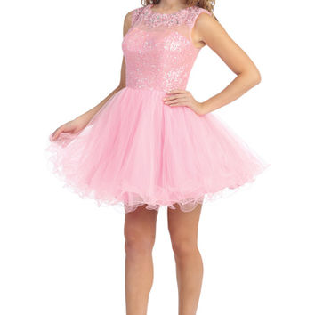 Short Key Hole Back and Lace Prom Dress in Pink
