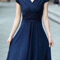 Purplish Blue Ruched V-Neck Dress