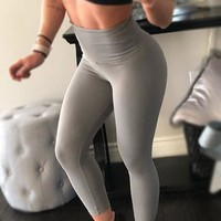 Grey Pleated High Waisted Sports Long Legging