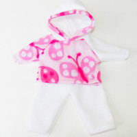 """HANDMADE CLOTHES, baby doll, fits 15"""" bitty baby, ladybug hoodie & white pants"""