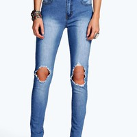 Jess Mid Rise Busted Knee Super Skinny Jeans