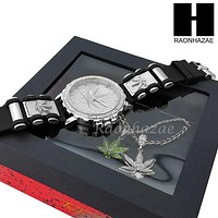 MEN MARIJUANA WATCH & DOUBLE PENDANT SILVER CUBAN ROPE CHAIN NECKLACE SET SS82