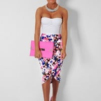 Malibu Blue & Pink Floral Cut Out Midi Skirt | Pink Boutique