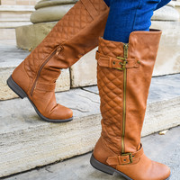 Jet Set Quilted Boot Cognac