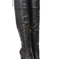 Black Faux Leather Tie Over Thigh High Platform Boots