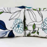 16 inch blue cushion cover , blue and green modern flower pattern on white pillow cover, uk seller