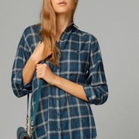 2014 New Fashion Womens Tops Casual Blouse Turndown Collar Long Sleeve Plaids Print Pattern Flannel Shirt w-s50