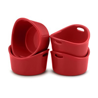 Rachael Ray Bubble and Brown, Red 10-Ounce Round Ramekins, Set of 4