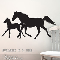 Trotting Horses Wall Decal - Horse Silhouettes, Equestrian Art, Farm Animals, Horse Lover, Ranch Country Decor