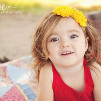 Baby Girl Headband, Yellow Shabby Flower, Baby Headband, Photography Props, Vintage Couture