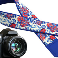 Camera strap flowers. Blue and red roses strap. Bright camera strap for DSLR / SLR cameras. Unique gifts by InTePro