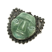Large Sterling Silver Aztec Mask Brooch, Handmade, Sculpted Green Stone Mask, Niello, Silver Bead Ball & Wire Scroll Accents, Gift for Her