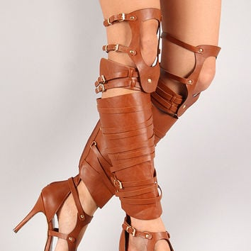 Breckelle Cut Out Strappy Knee High Heel