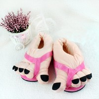 Funny Winter Toe Big Feet Warm Soft Plush Slippers Novelty Gift Adult Shoes (Pink)