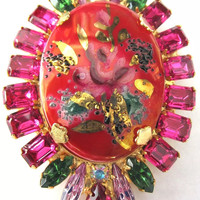 Brilliant Red & Pink in Time for Valentines Day DiMartino Originals Designer Brooch, Abstract Modern Victorian Revival Art Glass Floral Pin