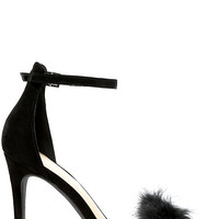 Valentina Black Feather Ankle Strap Heels